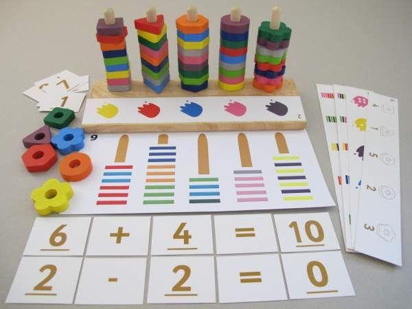 Formen, Farben und Zahlen-Steckspiel